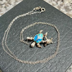 💙🐢 Turtle & Baby Turtle Silver Pendant Necklace